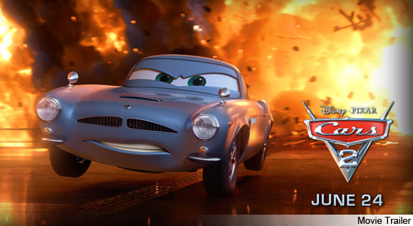 Finn McMissile leaping through flames in Cars 2 movieloversreviews.filminspector.com