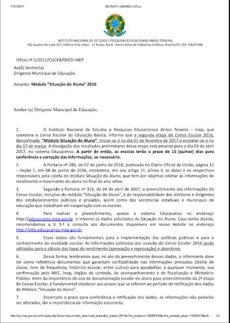 Educacenso - OFÍCIO Nº 5/2017 CGCEB DEED INEP