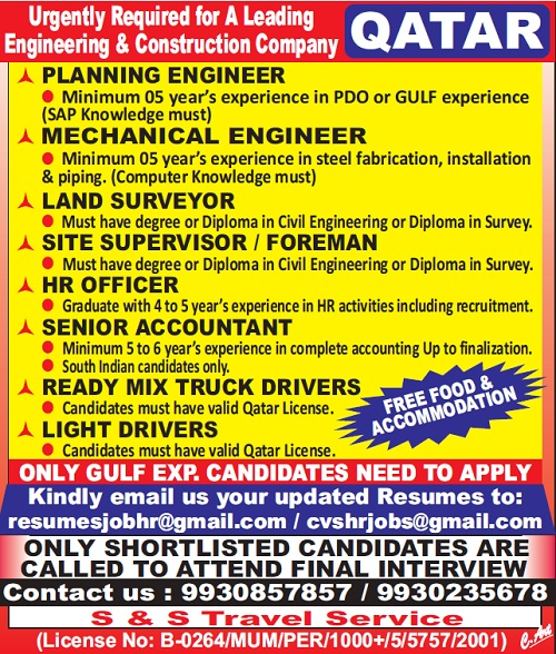 Qatar Jobs, Planning Engineer, Mechanical Engineer, Land Surveyor, Site Supervisor, HR Officer, Accountant, Light Driver, Heavy Driver,