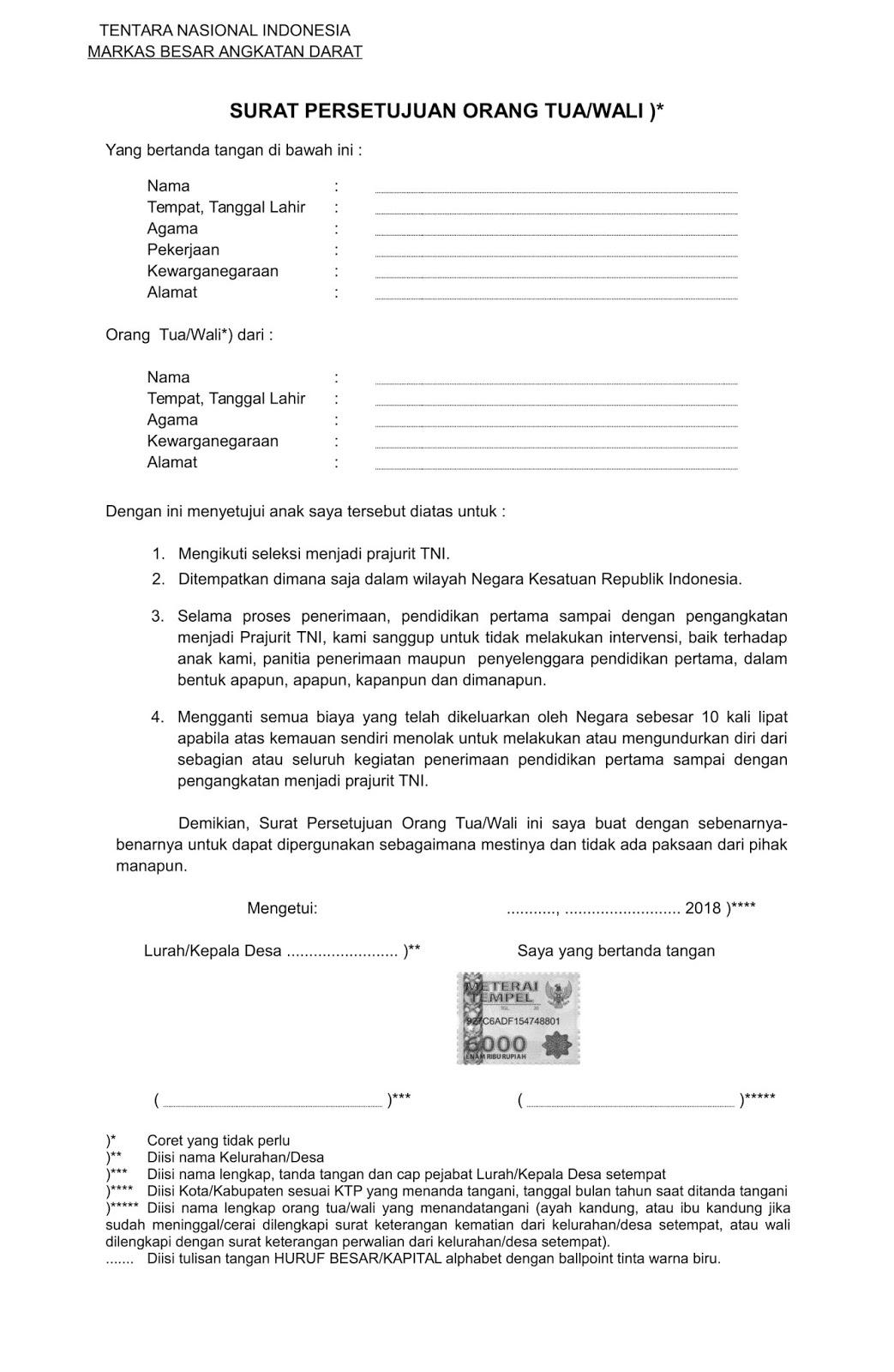 Contoh Surat Orton Surat Persetujuan Orang Tuawali
