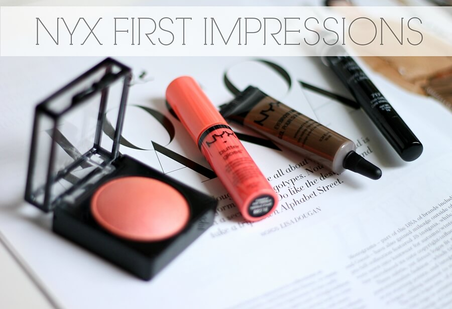 NYX BUTTER GLOSS apple strudel, EYEBROW GEL brunette, BAKED BLUSH foreplay, JUMBO PENCIL irish coffee review recenzija