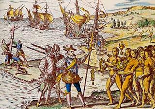 Christophe Colomb débarquant aux îles Caraïbes