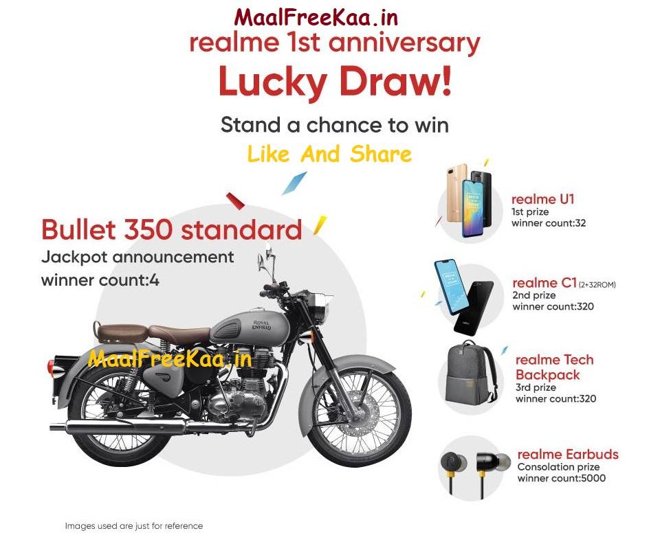 RealMe Jackpot Lucky Draw Win Bullet 350 Bike - Freebie