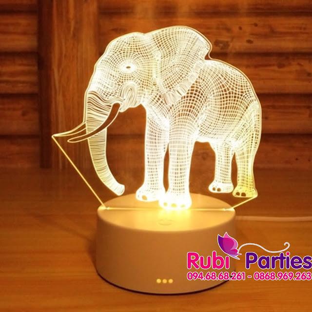 Den LED 3D hinh con voi (714)