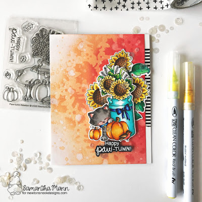Happy Paw-tumn Card by Samantha Mann for Newton's Nook Designs, Cards, Card Making, Distress Inks, Ink Blending, Stencil, Fall, Sunflowers, #newtonsnook #stencil #distressinks #inkblending #cards #cardmaking