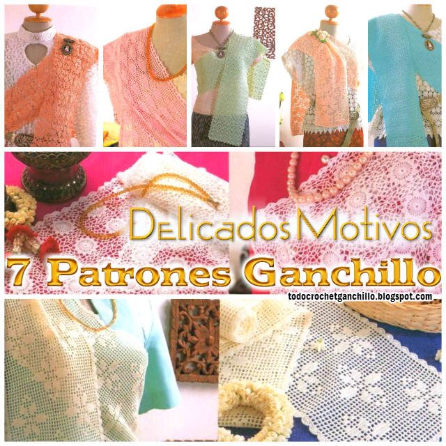 7 patrones de puntos ganchillo para tejer bufandas delicadas