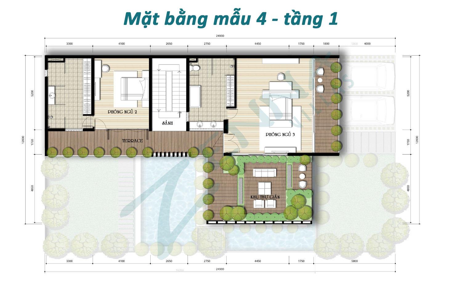 Mặt bằng tầng 1 mẫu 4 biệt thự Zenna Villas