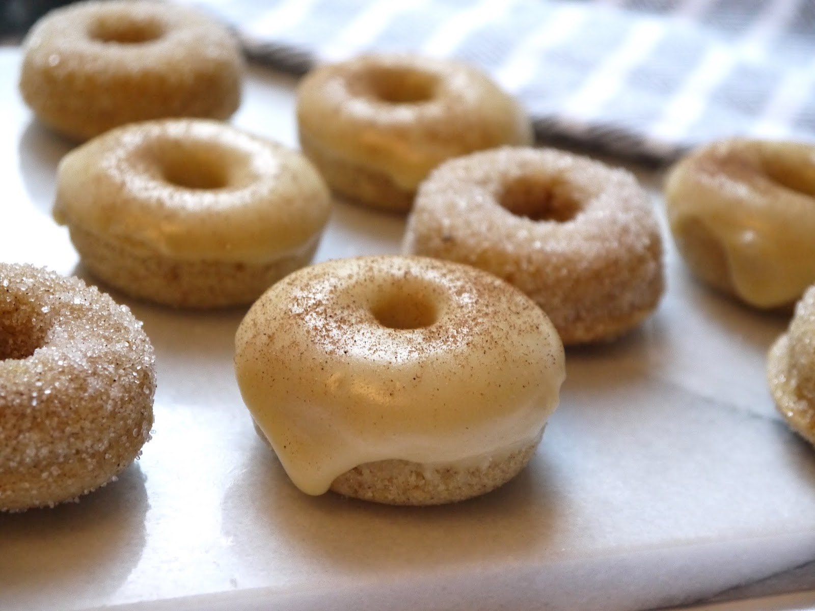 Baked Mini Maple Glazed and Cinnamon Sugar Doughnuts Recipe The Betty Stamp