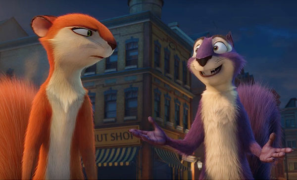 Andie (voiced by Katherine Heigl) and Surly (Will Arnett) don't see eye to eye with each other in THE NUT JOB 2: NUTTY BY NATURE (2017)