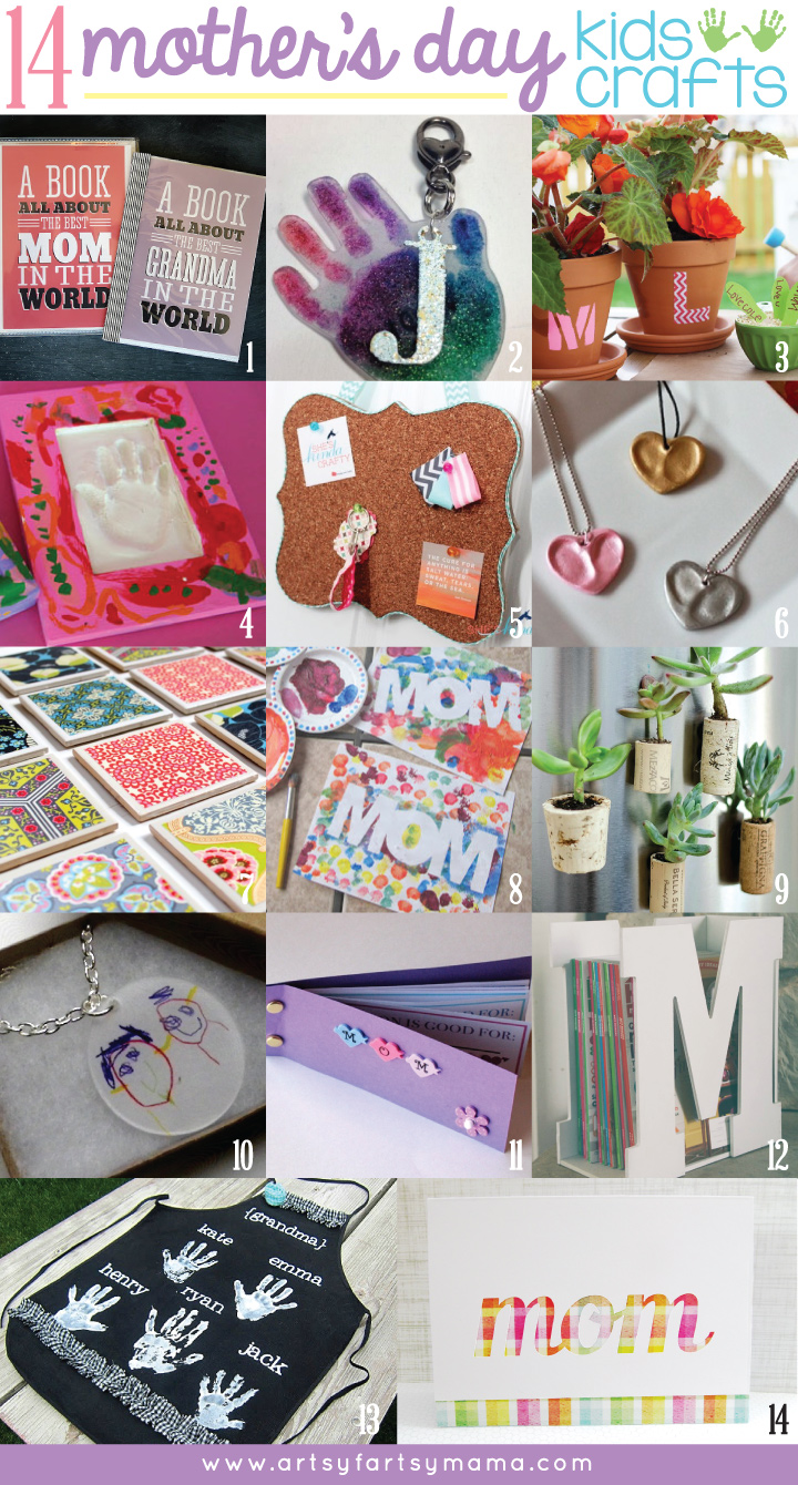 14 Mother's Day Kids Craft ideas perfect for moms or teachers at artsyfartsymama.com #mothersday #giftidea #kidscrafts