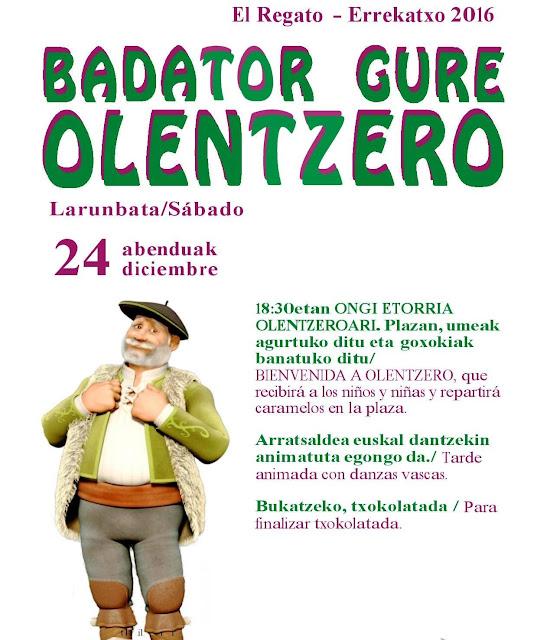 Cartel de Olentzero en El Regato