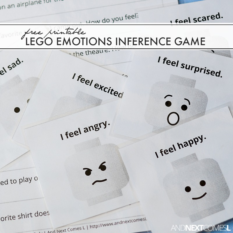 image regarding Printable Inference Games titled Absolutely free Printable LEGO Feelings Inference Activity And Upcoming Will come L