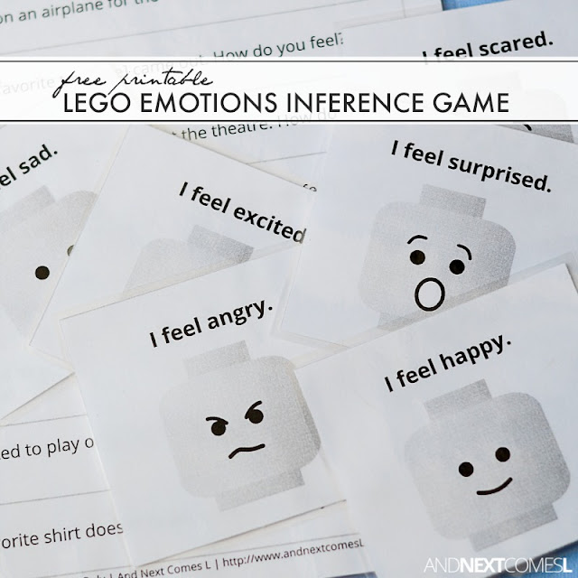 Free printable LEGO emotions inference game for kids from And Next Comes L