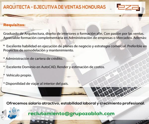 Arquitecta ejecutiva de ventas honduras empleos en for Maestria en arquitectura de interiores