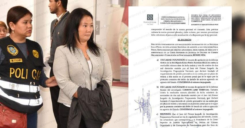 Keiko Fujimori continuará cumpliendo prisión preventiva de 3 años. Poder Judicial declaró infundado el recurso de apelación