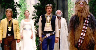 Star Wars Luke, Leia, Chewie, Han Solo getting medals but not the running kind