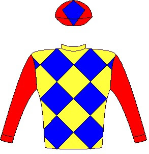 Pack Leader - Silks - Owner: Chrigor Stud (Pty) Ltd (Nom: Mrs S Hattingh) - Colours: Yellow and royal blue diamonds, red sleeves and cap, royal blue diamond.