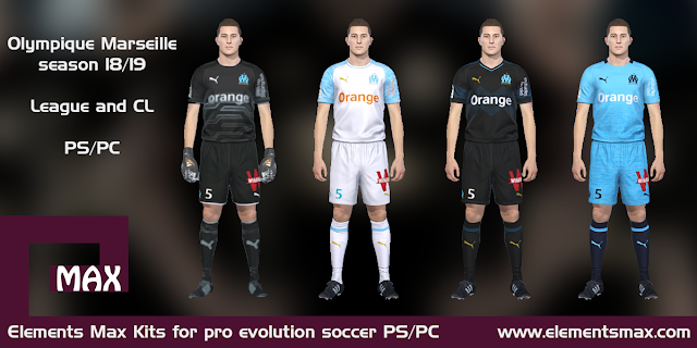 low priced fa6ca f63a9 Elements MAX Kits: Olympique Marseille PES Kits 2018/19