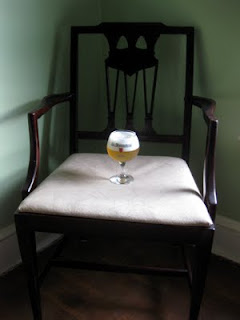 Farmhouse Table Saison in an old chair my grandfather fixed.