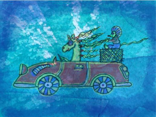 Illusztráció gyerekvershez, lobogó sörényű ló piros sport kabrió autót vezet, mögötte szalmabálán bukósisakos egér ül a ló sörényébe kapaszkodva.