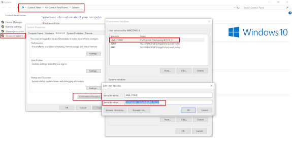 How to set JAVA_HOME and PATH in Windows 10