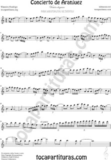 Saxofón Alto y Sax Barítono Partitura del Concierto de Aranjuez Sheet Music for Alto and Baritone Saxophone Music Scores