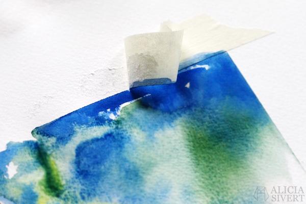 aliciasivert alicia sivertsson börja måla akvarell målarfärg skapa skapande kreativitet monthly makers färg akvarellfärg vattenfärg maskeringstejp maskeringstape reservation reservera yta raka kanter skarpa linjer pappret går sönder rivs knep tips