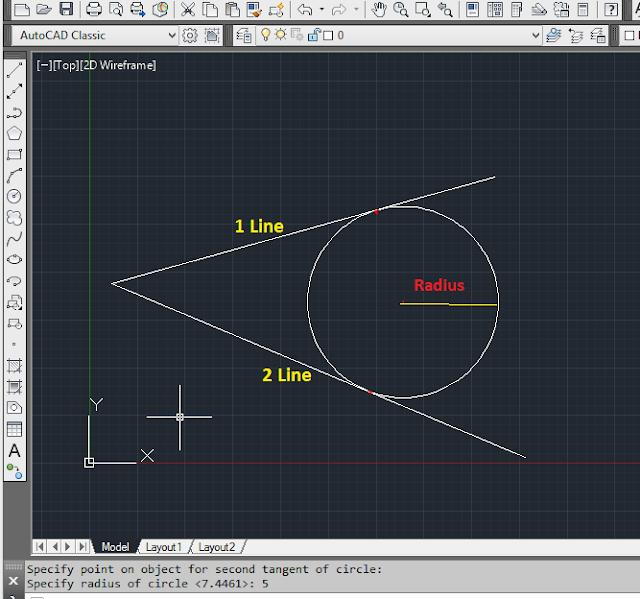 इस प्रकार आप AutoCAD में Ttr का use करके Circle Draw कर सकते हो