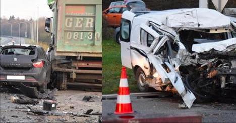 Impressionnant carambolage ce matin sur la route vers Charleroi: trois voitures sont rentrées dans un camion (Photos+vidéo)
