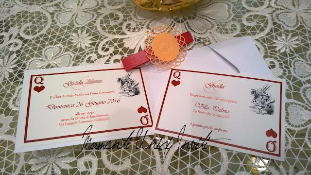 ali2 Gli inviti a tema Alice in Wonderland per la Prima Comunione di GiadaColore Arancio Colore Rosso Partecipazioni intagliate Tema Alice in wonderland