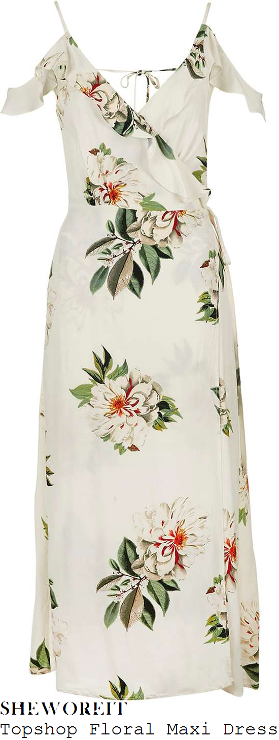 natasha-hamilton-topshop-cream-green-grey-and-red-floral-print-sleeveless-cami-strap-cold-shoulder-ruffle-frill-detail-wrap-front-open-back-midi-dress