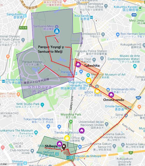 mapa ruta Tokio Santuario Meiji Shibuya