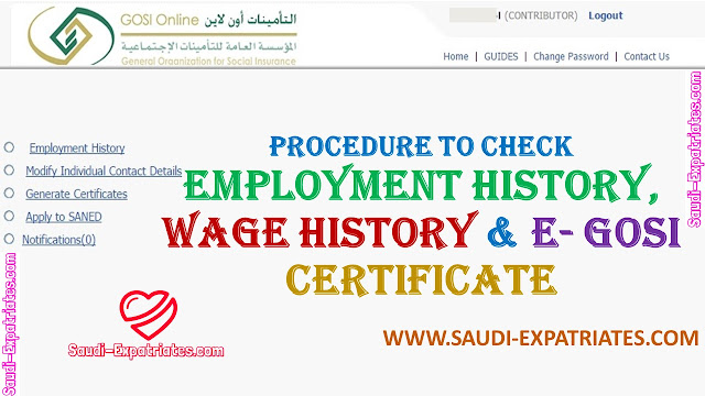 CHECK EMPLOYMENT HISTORY WAGE HISTORY & GOSI CERTIFICATE