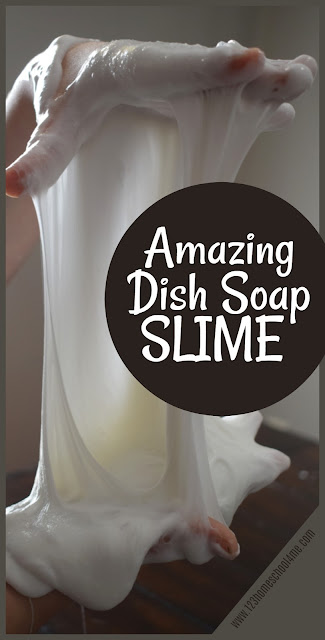 Amazing Dish Soap Slime - this slime recipe is super easy to whip up and is so fun to play with. It sheets beautifully and when it lands it acts like silly putty. This slime uses liquid starch to make the BEST slime recipe we've tried. Perfect for kids of all ages from toddler, preschool, kindergarten, first grade and more.