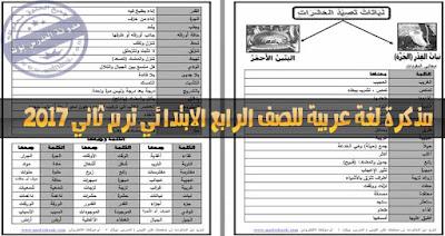 مذكرة عربي ترم ثاني الصف الرابع الابتدائي 2017