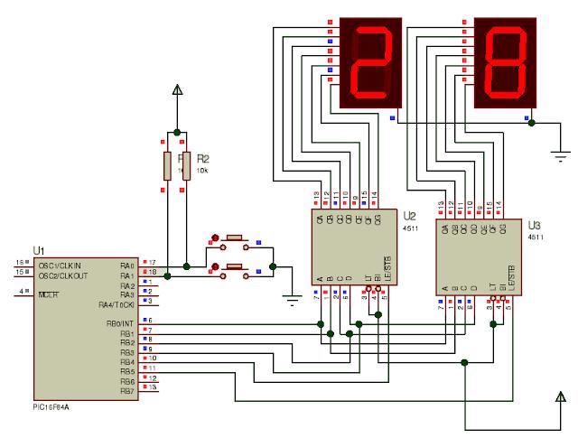 7 segment display bağlantı şeması