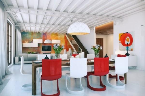 comedor en rojo y blanco