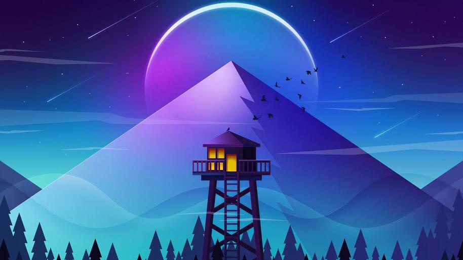 Minimalist, Mountain, Firewatch, Tower, Scenery, 4K, #6.423