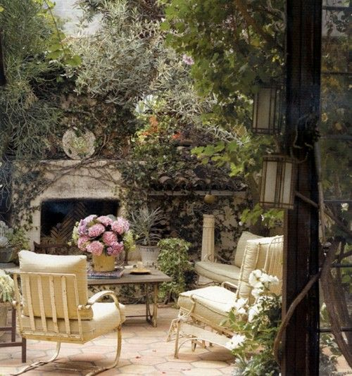 Gorgeous French country courtyard sitting area