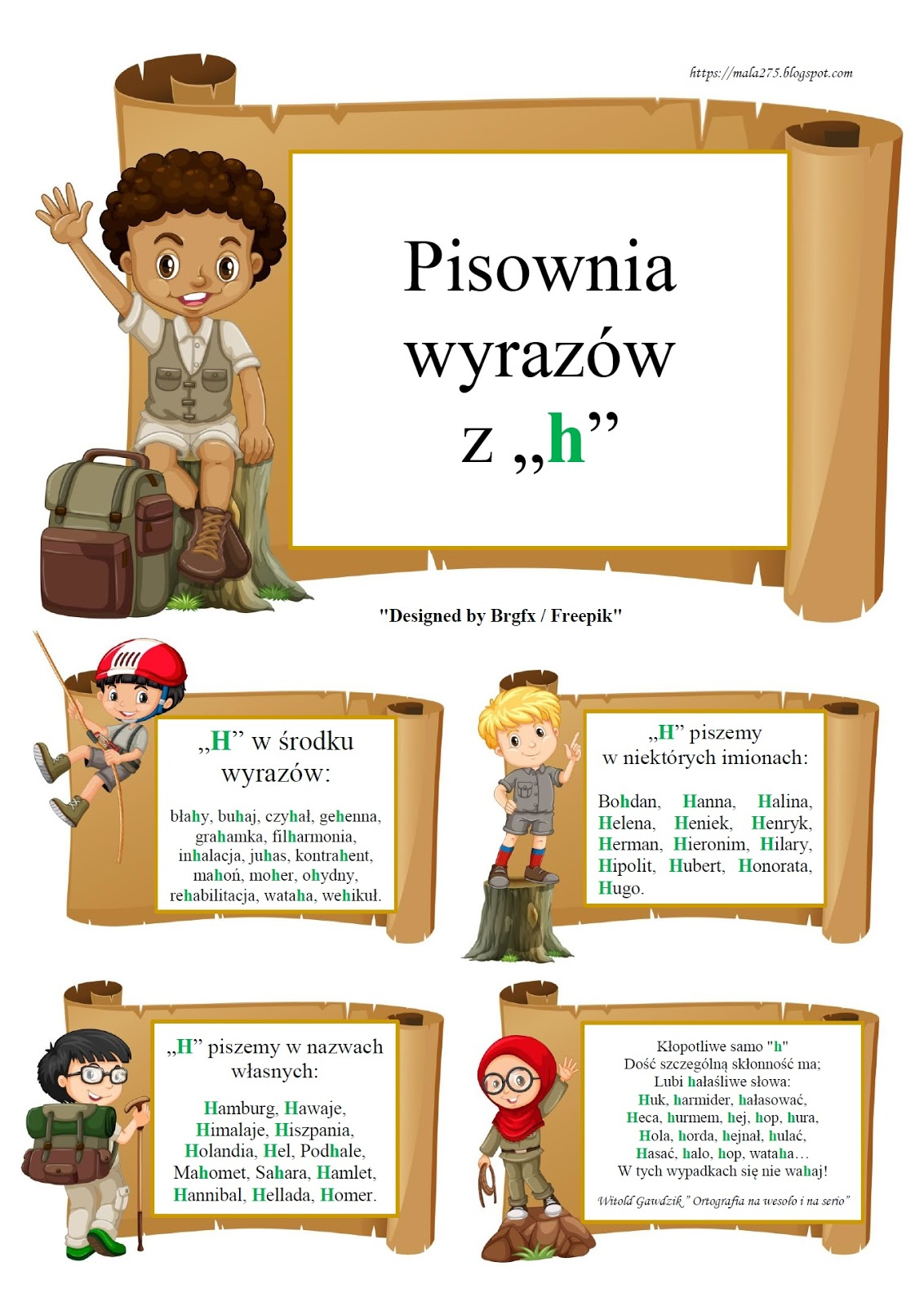 Blog Edukacyjny Dla Dzieci Pisownia Wyrazów Z H Zasady
