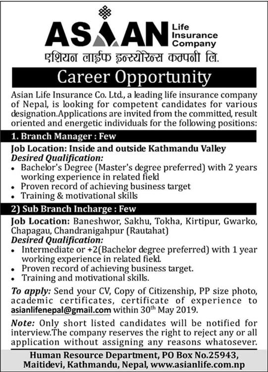 Career Opportunity at Asian Life Insurance Co. Ltd.