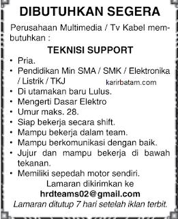 Lowongan Kerja Perusahaan Multimedia TV Kabel Batam