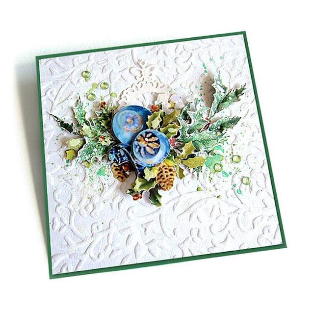 kartka na święta z motywem ostrokrzewu