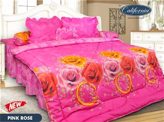 sprei california terbaru motif pink rose