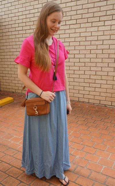 pink frill sleeve tee and chambray maxi skirt, rebecca minkoff mab camera bag summer heatwave outfit | away from the blue