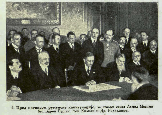 Immediately before the signing of the Romanian Capitulation. Messimy Bey, Baron Burian, von Kuhlmann and Dr. Radoslavov
