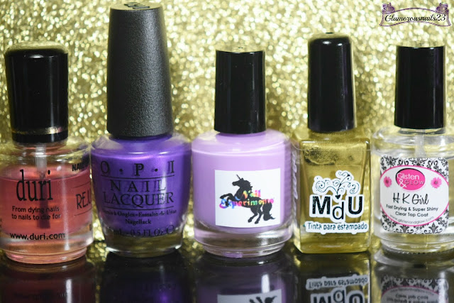 Duri Rejuvacote, O.P.I Purple With A Purpose, Nail Experiments Easy Peel Latex Barrier, Mundo De Unas Gold, Glisten & Glow HK Girl Fast Drying Top Coat