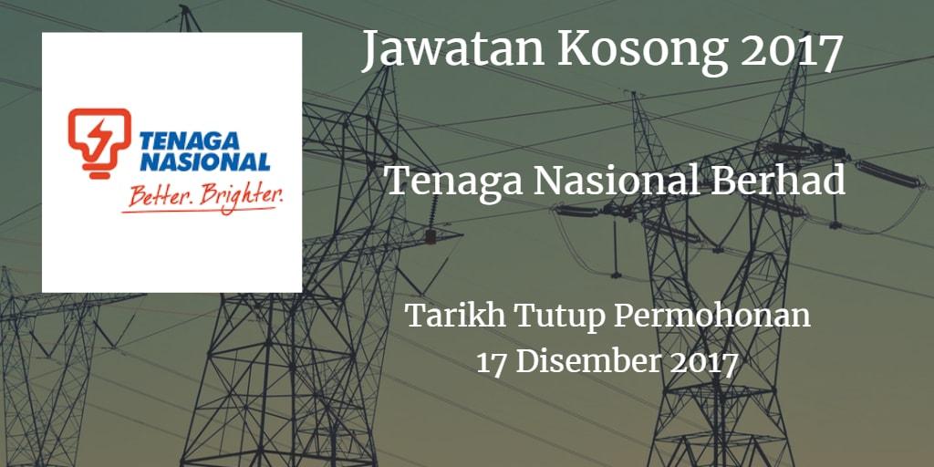 Jawatan Kosong Tenaga Nasional Berhad 17 Disember 2017