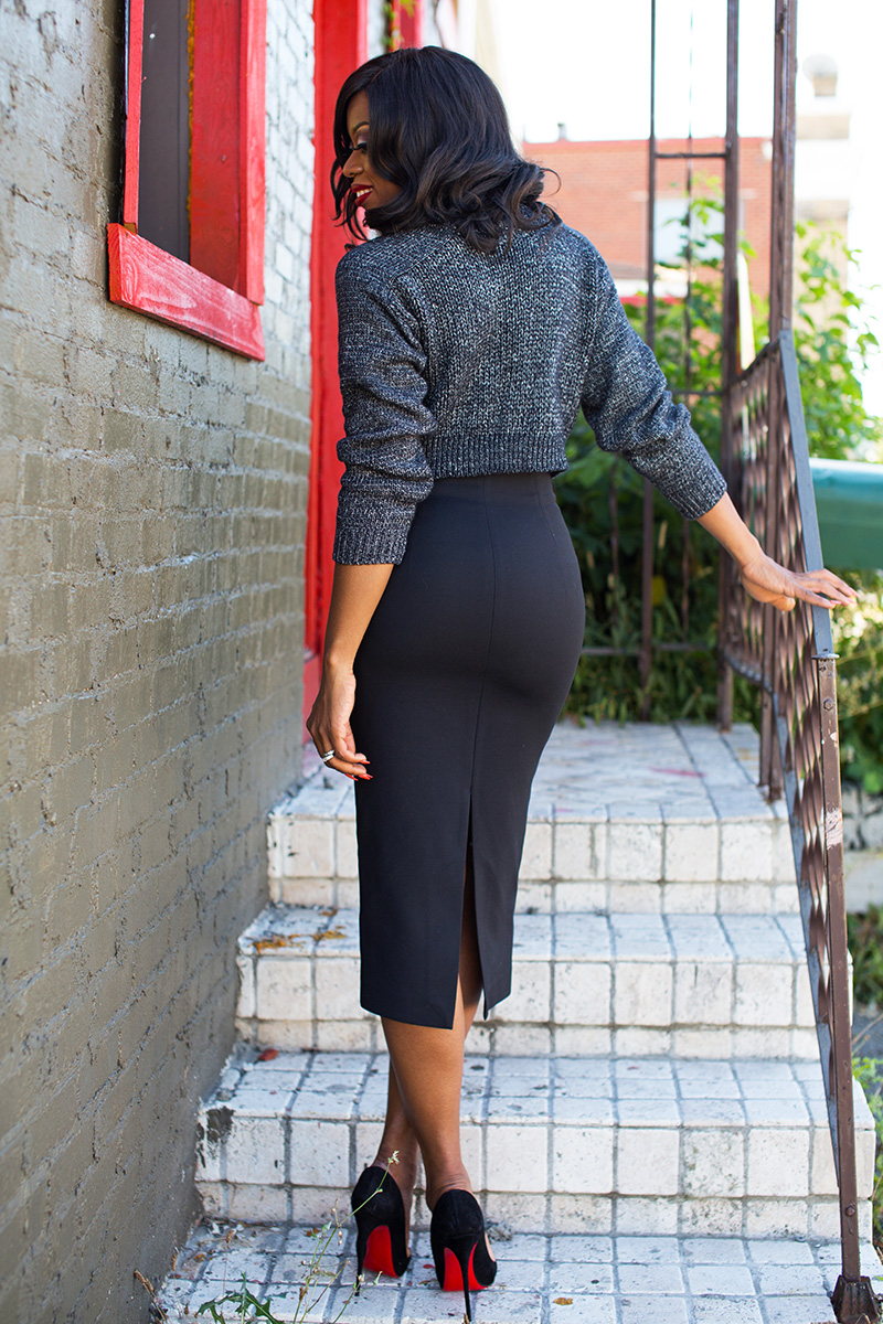 work outfit, pencil skirt  and cable knit sweater