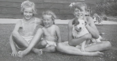 Sue, Barbara and Tony Flitney with Peggy the dog